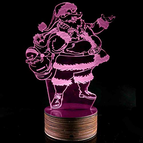 Novelty Lamp, Night Light 3D LED Lamp Optical Illusion Santa Claus, 16 Color Remote Control Changes, with USB Charging Connector, Children's Gift Toys,Ambient Light by LIX-XYD (Image #8)