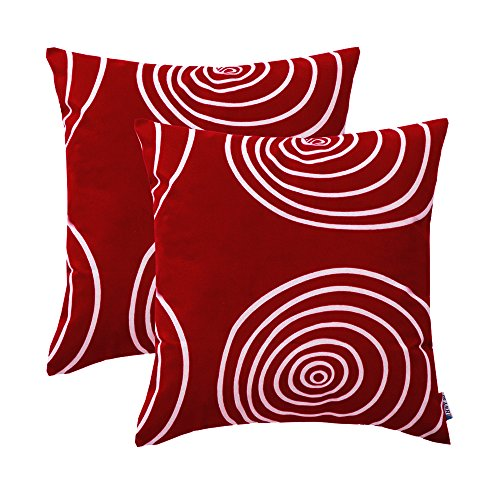 ece Comfortable Christmas Decorative Throw Pillow Covers Sets Cushion Cases for Couch Sofa Bed Living Room Wine Red European Style Circle Design Burgundy 18 x 18 inch Pack of 2 ()