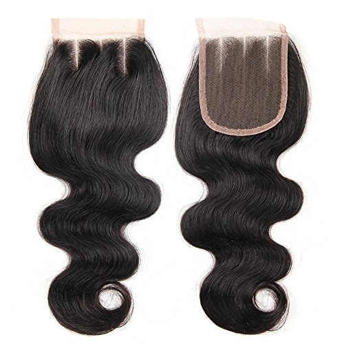 CYNOSURE Hair Brazilian Body Wave Closure 100% Unprocessed Brazilian Virgin Human Hair Closure Natural Black