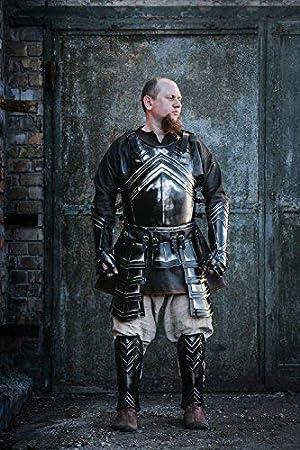 Sir Antonius Leather Spaulders Paladin Shoulder Armor Pauldrons Cosplay Black