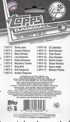 New York Yankees 2017 Topps Factory Sealed 17 Card Limited Edition Team Set with Derek Jeter and Aaron Judge Rookie Plus