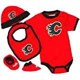 Calgary Flames Baby Creeper, Hat, Bib, & Bootie Set
