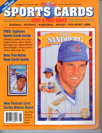 (Allan Kaye's SPORTS CARDS: News & Price Guides; Number 9 August 1992 (Ryne Sandberg cover) (Number)