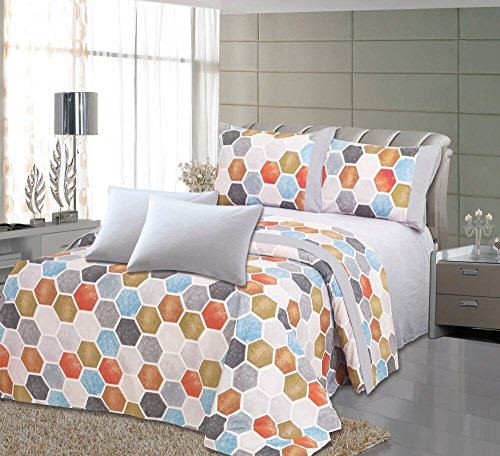 Royal Bamboo 6 Piece Eco Friendly Soft & Double Polished, Wrinkle Free, Multi-Color Hexagon Design 125 GSM Sheet Set, (2 Extra Pillow Case) Queen (Hexagon Design)