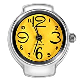 VGEBY Quartz Finger Ring Watch, Stainless Steel Round Analog Ring Watch for Men Women(Yellow)