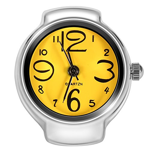 VGEBY Quartz Finger Ring Watch, Stainless Steel Round Analog Ring Watch for Men Women(Yellow) by VGEBY