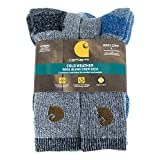 3. Carhartt Men's A118-4 Cold Weather Wool Blend Crew Socks (Pack of 4), Green/black, Shoe Size: 6-12