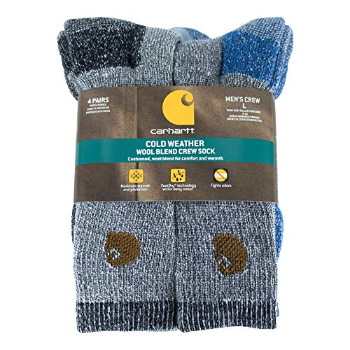 Carhartt Men's A118-4 Cold Weather Wool Blend Crew Socks (Pack of 4), Green/black, Shoe Size: 6-12
