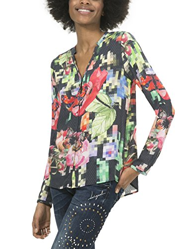 Desigual Cam_nati, Blusa para Mujer Verde (VERDE ELISA 4054)