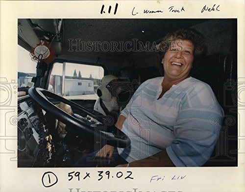 1991 Press Photo Cheryl C. Miller & her partner Renegade at Portland truck stop (Cheryl's Portland)