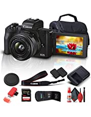 $764 » Canon EOS M50 Mark II Mirrorless Digital Camera with 15-45mm Lens (Black) (4728C006) + 64GB Extreme Pro Card + Extra LPE12 Battery + Case + Card Reader + Cleaning Set + Memory Wallet + More (Renewed)