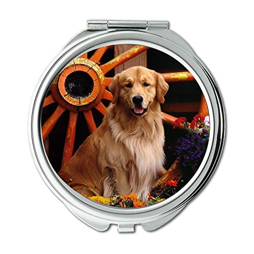 Mirror,makeup mirror,Colorful Cute Dog dog b q,pocket mirror,1 X 2X -