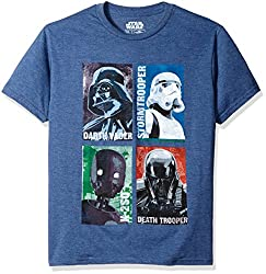 Star Wars Big Boys' Best Crew, Navy Heather, LARGE