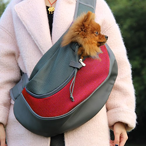 ELETIST Pet Shoulder Bag For Dog For Cat, Portable Dog Carrier Cat Carrier,Breathable Comfort Puppy Bag Size M For 2(lb)-11(lb),Size S For 2(lb)-4.5(lb),Size M,Red