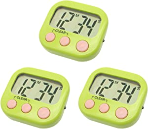 Digital Timer for Teacher Small Timers for Kids Magnetic Back Big LCD Display Loud Alarm Minute Second Count Up Countdown With ON/OFF Switch For Classroom, Homework, Exercise(3 Green)