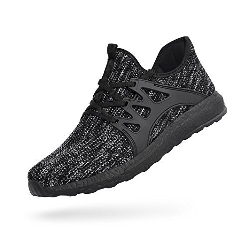 QANSI Mens Sneakers Breathable Mesh Flyknit Athletic Running Walking Sport Shoes - Gray/Black Size 8