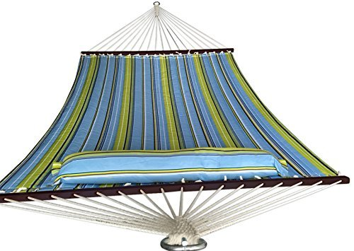 SueSport Doule Hammock Quilted Fabric with Pillow Double Size Spreader Bar Heavy Duty,New Blue/Green Pattern by SueSport