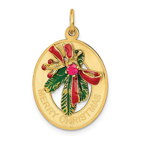 14k Yellow Gold Enameled Mistletoe Synthetic Stone Pendant Charm Necklace Holiday Fine Jewelry Gifts For Women For Her from ICE CARATS