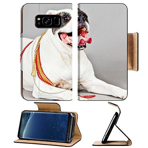 MSD Premium Samsung Galaxy S8 Plus Flip Pu Leather Wallet Case American Bulldog portrait on a grey background IMAGE - Por Hot Free