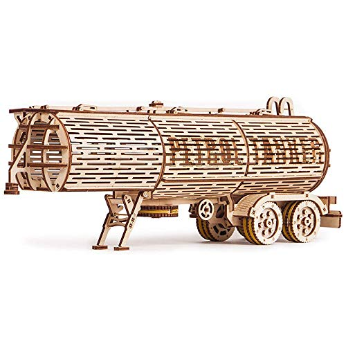 Fuel Tank Trailer Addition for Big Rig Truck, Petrol Trailer for Semi Truck - 3D Wooden Puzzle, ECO Wooden Toys, Best DIY Toy - STEM Toys for Boys and Girls