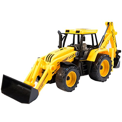 TukTek Kids First Toy Backhoe w/ Assorted Front Loader Construction Builder Farm Tractor Friction Push Truck for Boys & Girls
