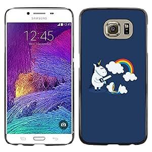 Exotic-Star ( Funny Cute Unicorn Rainbow ) Fundas Cover Cubre Hard Case Cover para Samsung Galaxy S6 / SM-G920 / SM-G920A / SM-G920T / SM-G920F / SM-G920I