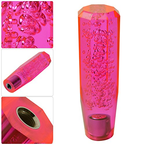 Universal Jdm Vip 150Mm Crystal Octagon Style Bubble Filled Shift Knob Transparent Neon Pink M/T (Knob Shifter Neon)