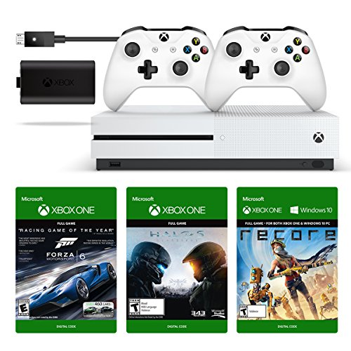 Xbox One S 500GB Console + Play & Charge Kit + Xbox White Wireless Controller + 3 Digital Games