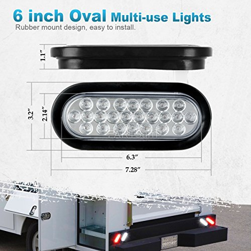 48598e4bed Partsam 2x Oval Clear Lens White Stop Turn Tail Backup Reverse Fog Lights  Lamps Rubber Flush