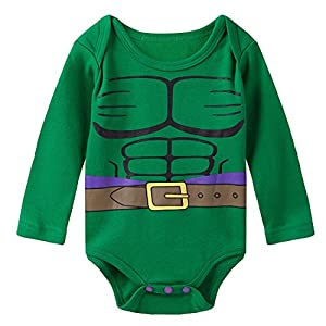 A&J Design Baby Boys' Green Hulk Long Sleeve Bodysuit