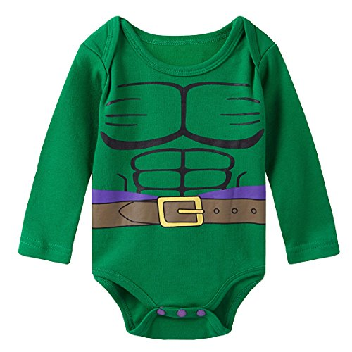 A&J Design Baby Boys' Green Hulk Long Sleeve Bodysuit 6-9 Months