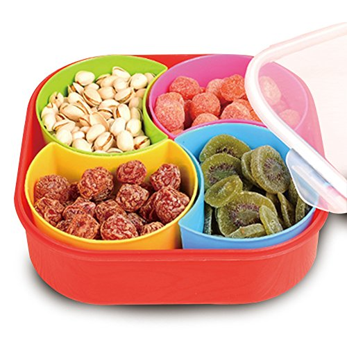 WuKong Creative Multi Sectional Snack Storage Box Set with Lid, Dried Fruits, Nuts, Candies Fruits(Four grid) by Wukong