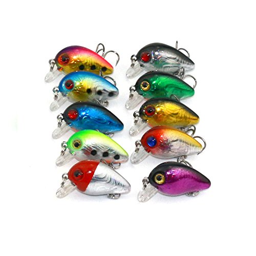 Maoko 10pcs Crankbaits Lures for Bass Trout Floating Topwater 1.18in/0.11oz (Skeet Reese Series Rods)