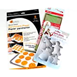 Holiday Gingerbread Family Cookie Baking Accessories With Cookie Cutters, Parchment Baking Sheets and 20 Treat Bags