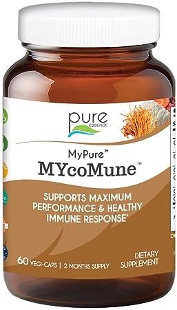 MYcoMune Immune Support Supplement - Organic Mushrooms Reishi, Lion's Mane, Cordyceps, Chaga, Shiitake, Maitake for Stress, Energy and Brain by Pure Essence- 60 Caps
