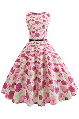 Women Round Neck Casual Swing Dresses, Printed Belted Cocktail Party Dress,S