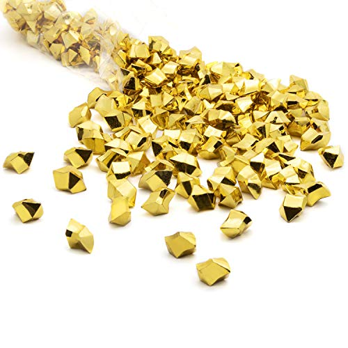 (Acrylic Gems Ice Crystal Rocks for Vase Fillers, Party Table Scatter, Wedding, Photography, Party Decoration, Crafts by Royal Imports, 1 LB (Approx 180-200 gems) - Gold)