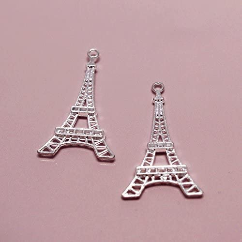 Silver Eiffel Tower Charms-Pack of 20
