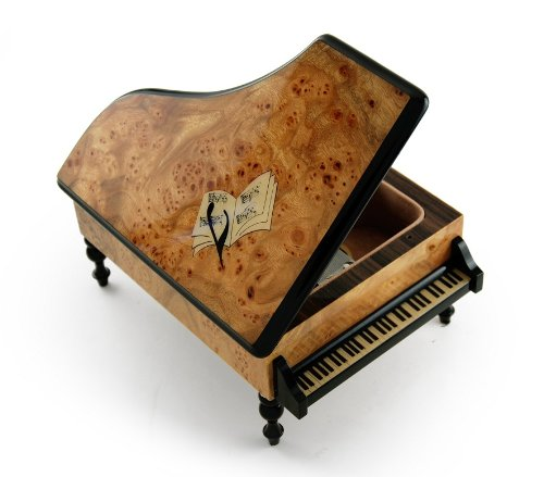Handcrafted 22 Note Italian Grand Piano Music Box with Sheet Music Inlay - Wedding March - 1 Available by MusicBoxAttic