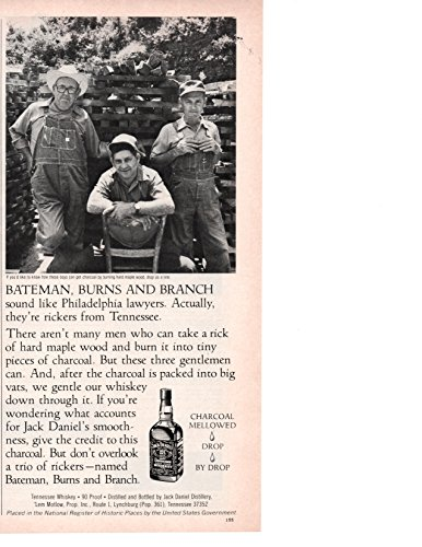 """Vintage Magazine Print Ad: 1980 Jack Daniel's Distillery, Old No 7 Brand Tennessee Whiskey, Charcoal Rickers """"Bateman, Burns and Branch"""""""