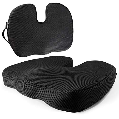 Compact Technologies Coccyx Cushion Tailbone Pillow w/Perfect Posture Memory Foam - Full-Sized Seat Pad w/Leg Contours & Stay-Put Grip for Coccygeal & Sacral Support to Stop Lower Back Pain
