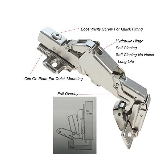 Gobrico Clip On Kitchen Cabinet Hinge 165 Degree Furniture Parts Hardware Soft Close Frameless Mounting 20 Piece by Gobrico (Image #4)