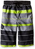 Kanu Surf Big Boys' Specter Stripe Swim Trunk, Charcoal, Medium (10/12)
