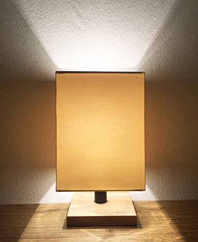 Mini Teak Desk Lamp w/ Rectangle Lampshade (10 Inch) Classic, Handmade Craftmanship | Executive Style Home Décor | Living Room, Bedroom, Office | Ligh…