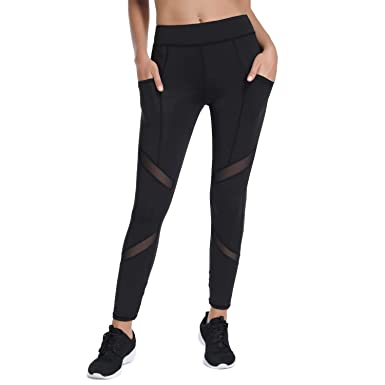 5c57929b07822 Amazon.com: Workout Leggings for Women with Pockets High Waisted Girls Yoga  Capri Pants Running Tights: Clothing