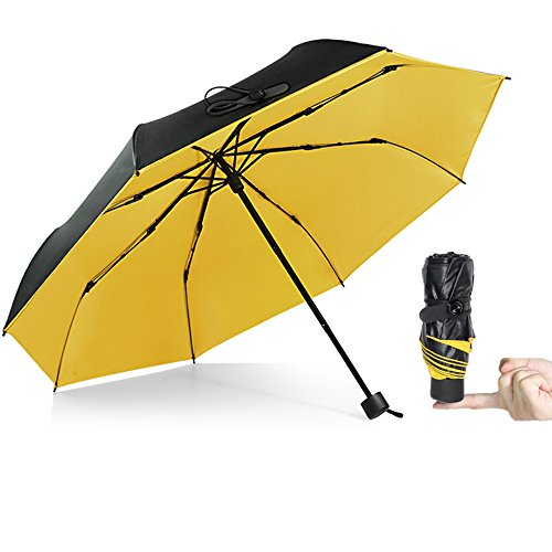 KAILEDI Umbrella,Windproof Travel Umbrella Compact Mini Lightweight Umbrella Portable Folding Golf Umbrella (Yellow)