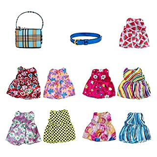 Barbie Doll Clothes and Accessories Bundle 11 Pcs — Doll Shoes Included — Free Belt and Bag Accessories — Wonderful Gift Idea for Little