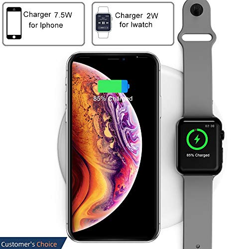 COSOOS Wireless Charger,2 in 1 Qi Wireless Charging Pad Stand,Compatible with iWatch Series 2/3/Nike+/Edition, iPhone Xs MAX/XR/X/8,Samsung Galaxy S9/S8/Note 8(White,Need Precise Alignment)