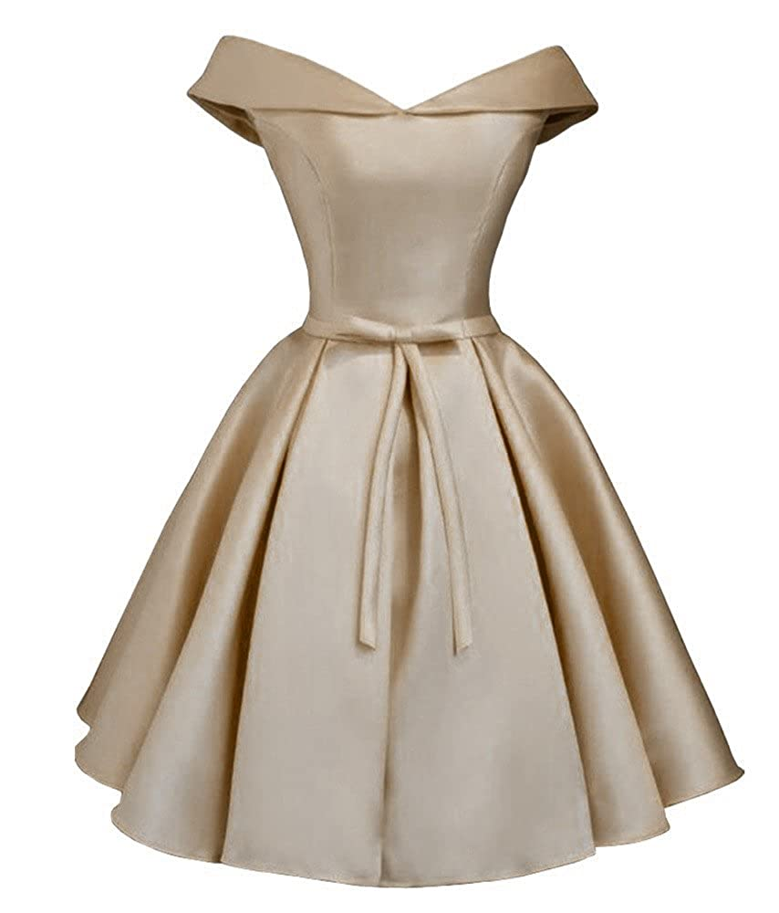 Champagne Dressylady 2017 Simple A Line Off Shoulder Homecoming Dress Short Prom Bridesmaid