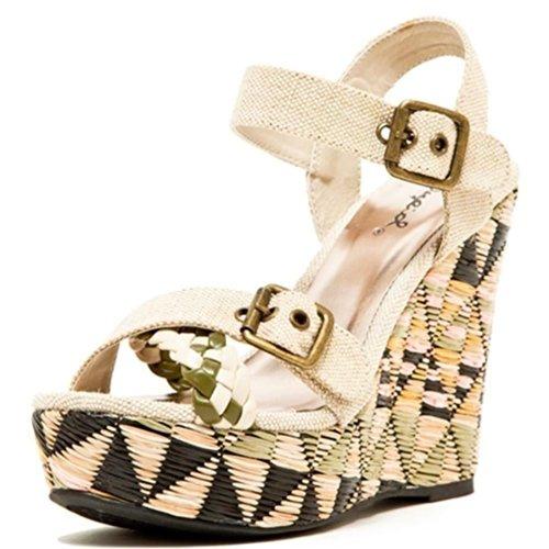 a6eae479ec71 Qupid Women s Clemence Open Toe Buckled Wedge Sandals